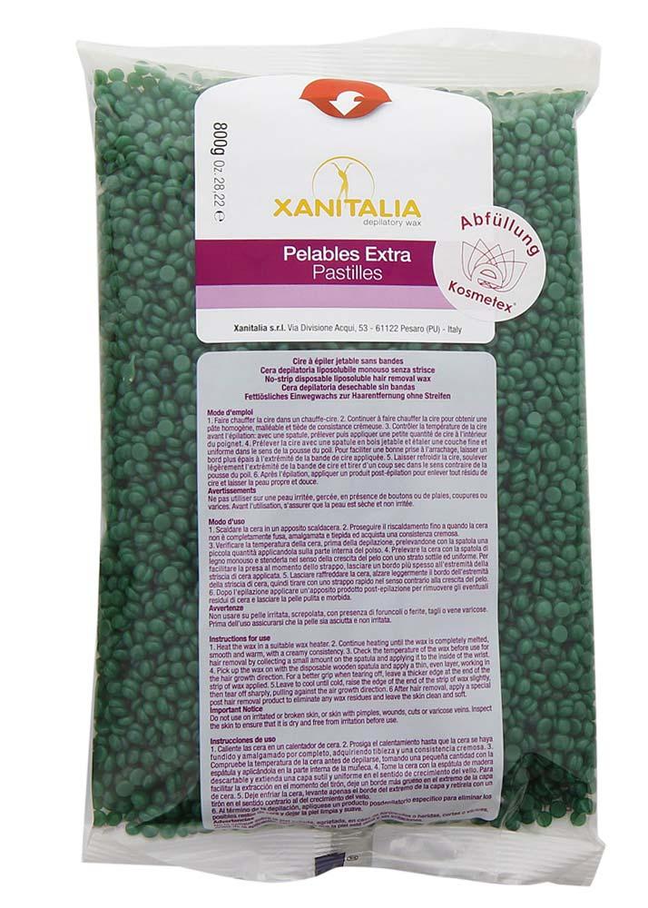 Kosmetex Premium Chlorophyll Pelables EXTRA Wachs-Perlen für Super flexibles Waxing ohne Vliesstreife, 800g