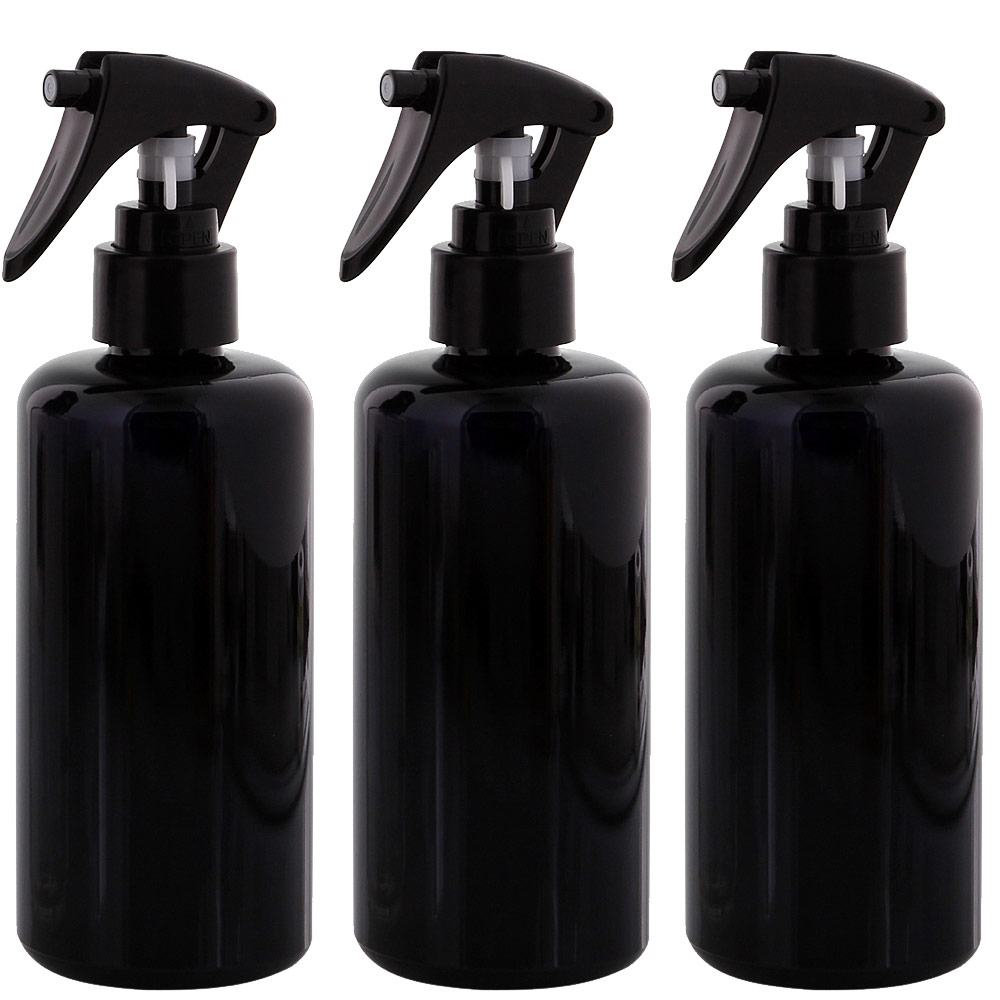 Mironglas Sprüh-Flasche 200 ml Kosmetex Violett-Glas mit Sprühkopf Zerstäuber, leer 3× 200 ml