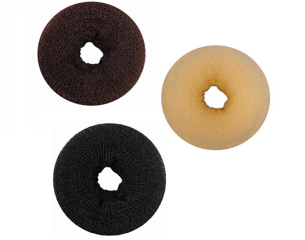 """Haargummi, Donut-Form, Krapfenform, """"Dutt"""" Haarring aus Frottee, ohne Metall 3er Mix groß"""
