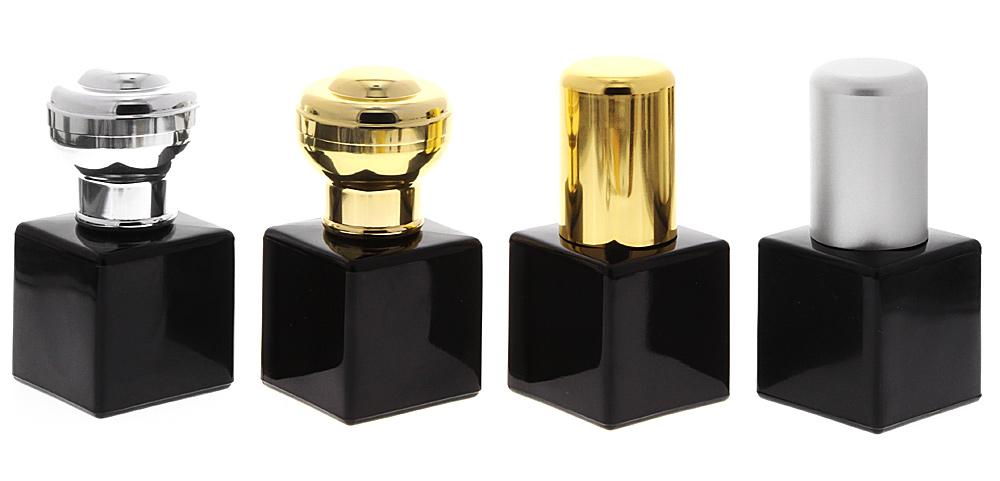 Glas-Flakon mit Zerstäuber-Pumpe, 50ml Kosmetex Parfüm-Zerstäuber, schwarz, leer