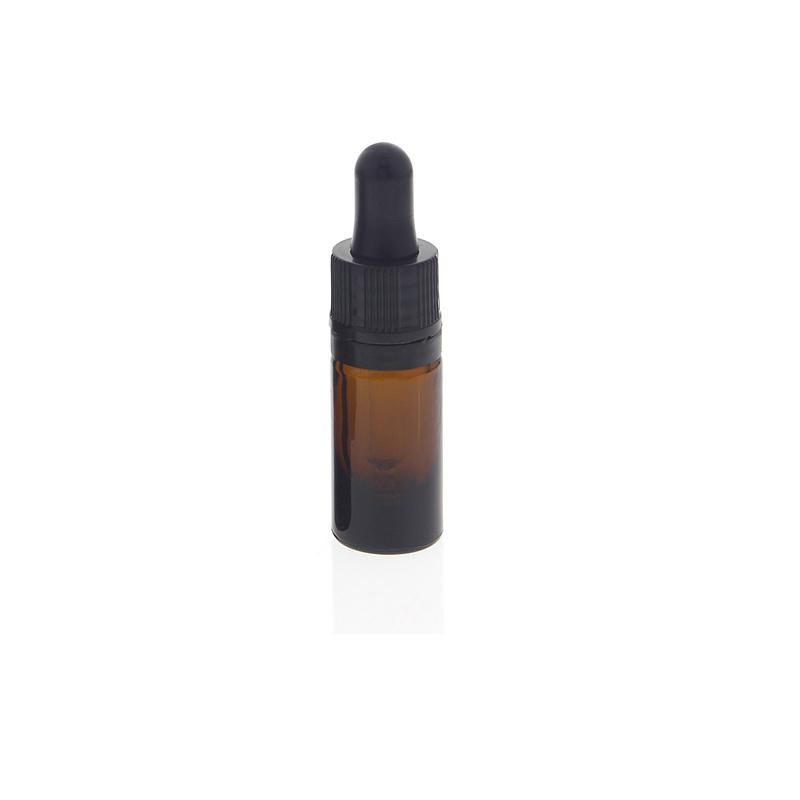 Kosmetex Braunglasflasche mit Pipette, leere braune Glasflasche, Pipettenflasche nur 7cm hoch 5 ml