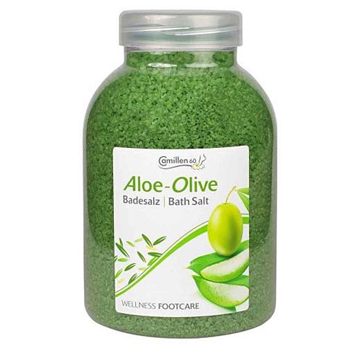 Badesalz Aloe, Olive, Camillen 60, Fussbad Wellness Foot Care mit Aloe Vera und Olivenöl, 1350 g