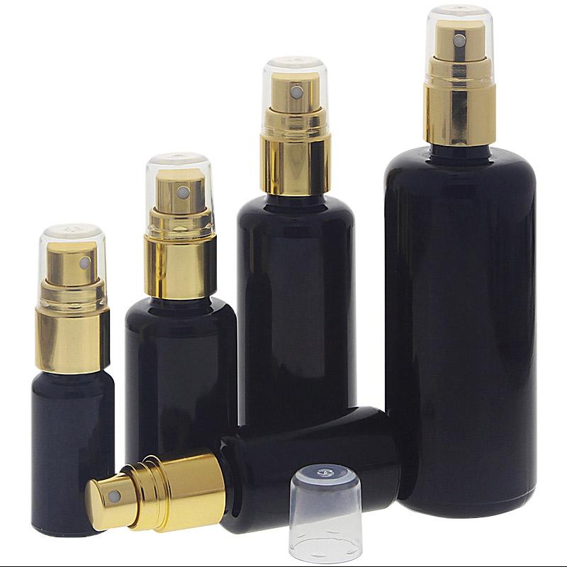 Violettglas Sprühflasche, stark lichtschützend, Miron Glas-Flasche mit gold. Pumpzerstäuber, Flakon Kosmetex