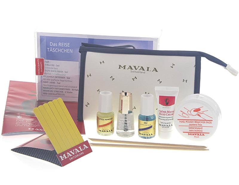 MAVALA Die 7 teiliges Nagelpflegeset für die Reise in einer hochwertigem Kulturtasche