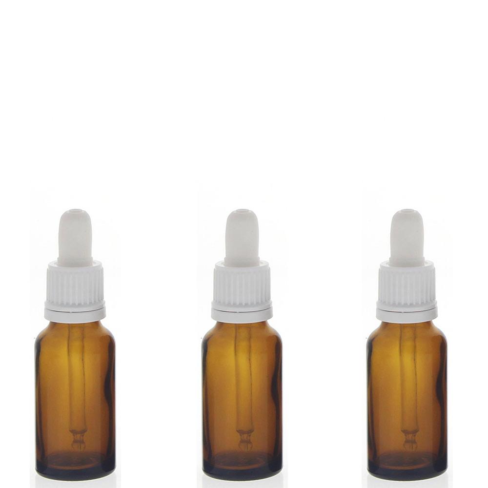 Braunglasflasche mit Pipette, 20ml leere braune Kosmetex Glasflasche, Pipettenflasche mit kompletter Pipettenmontur. 3× 20 ml