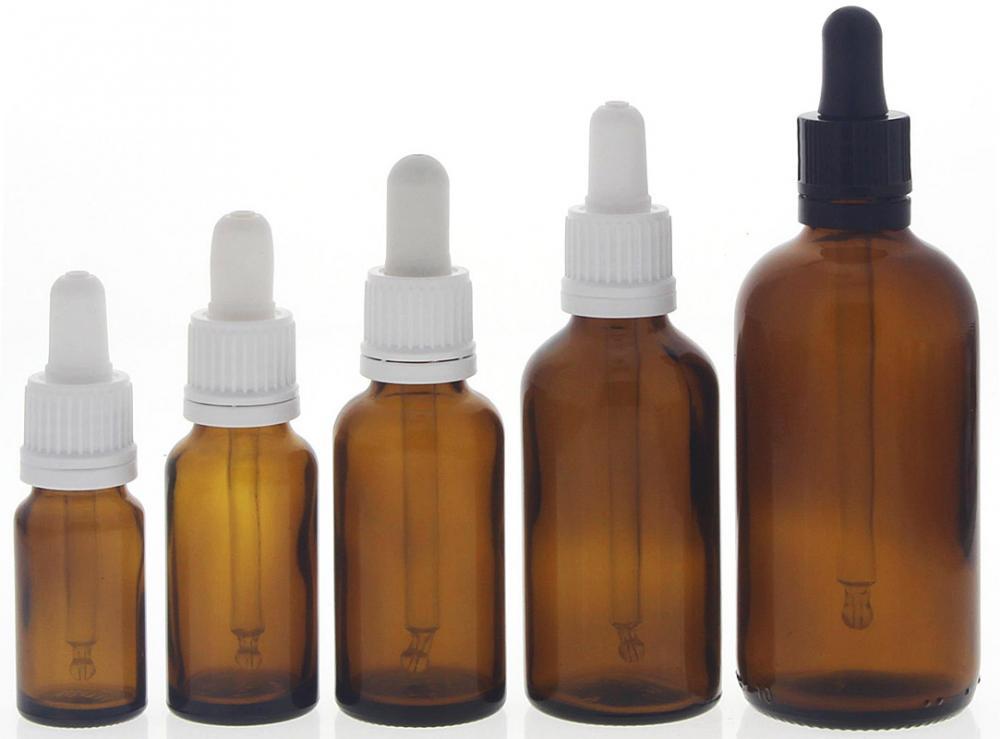 Braunglasflasche mit Pipette, leere braune Kosmetex Glasflasche, Pipettenflasche mit kompletter Pipettenmontur. 5er MixSet