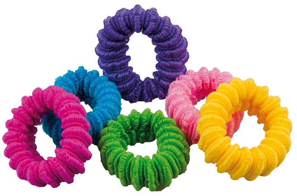 Haargummi Set, 6 Stck., groß, breit 6 div. Farben für viele Frisuren.