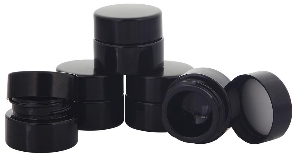 Violett Mironglas-Tiegel m. Deckel, 5 ml Kosmetex Kosmetik-Tiegel, Salbentiegel, Miron Cremedose 5× schwarz