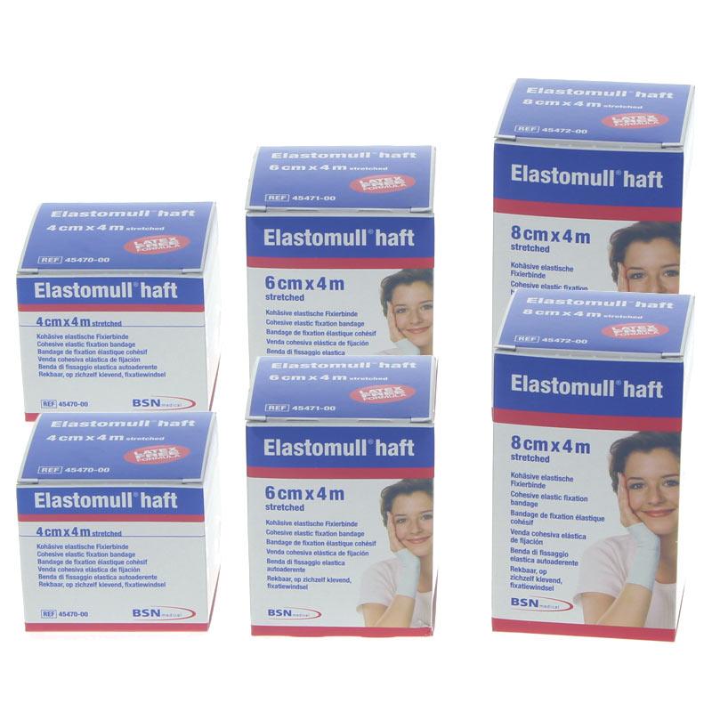 6x Elastomull haft Binden, Mix Set (2x 4cm, 2x 6cm, 2x 8cm) elastische Fixierbinde,selbsthaftend Schnellverband 6er MixSet