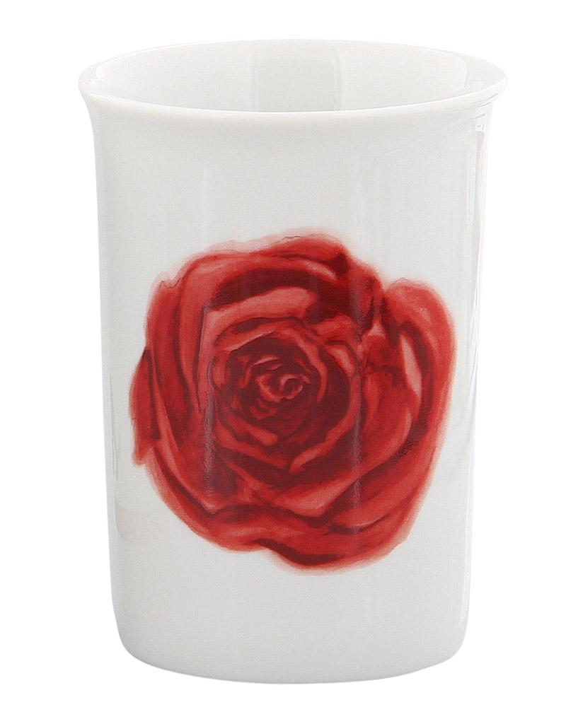 Zahnputz-Becher aus Porzellan, weiß mit Rote Rose Kosmetex Bad Accessoires Mundbecher