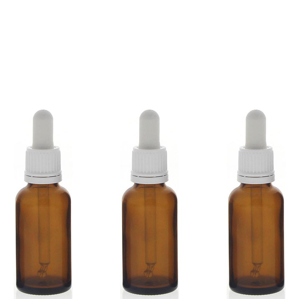 Braunglasflasche mit Pipette, 30ml leere braune Kosmetex Glasflasche, Pipettenflasche mit kompletter Pipettenmontur. 3× 30 ml