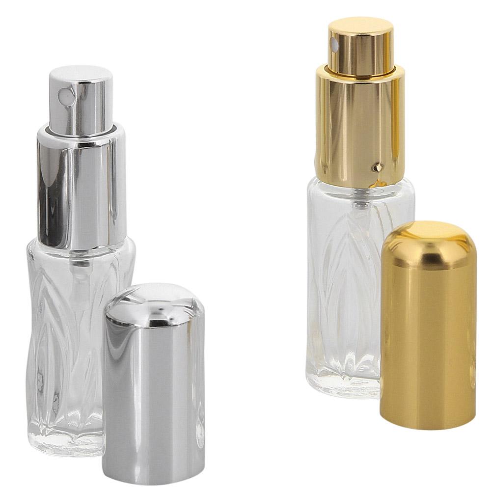 Runder Flakon, Parfum-Zerstäuber, Pumpzerstäuber, Blatt-Muster Kosmetex Sprüh-Flasche, leer, 10 ml