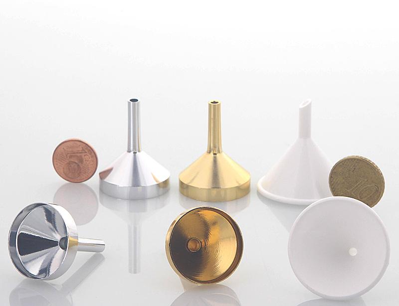 Mini Metall Parfümtrichter Kosmetex, kleiner Trichter 3 cm zum umfüllen 3er Set