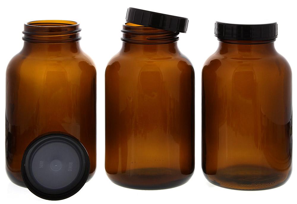Weithalsflasche, Braunglasflasche m. Kunststoff-Deckel, leer Kosmetex Glasdose, Flasche, 1000 ml 3× 1000 ml