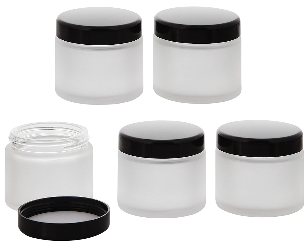 Matt-Glas Tiegel 100 ml m. Deckel, Leere Kosmetex Glas Creme-Dose, Kosmetik-Dose 5× 100 ml Mattglas