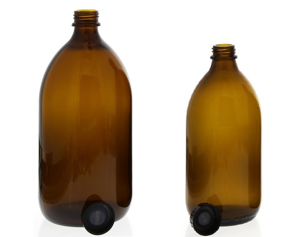 Braunglas-Flasche m. Verschluss, rund, Enghals, leer Kosmetex Sirupflasche, Enghalsflasche, Sirupflasche