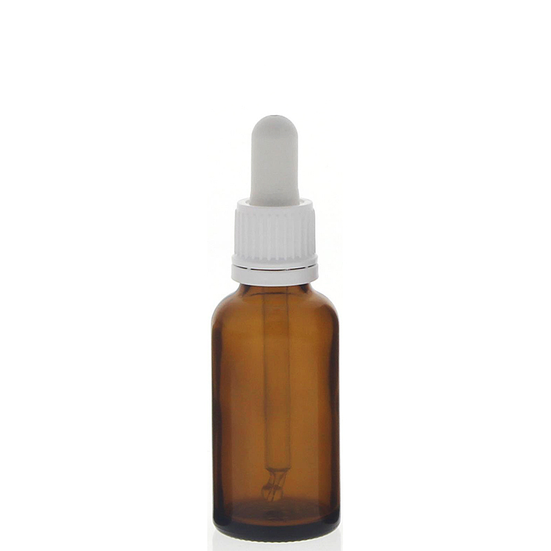 Braunglasflasche mit Pipette, leere braune Kosmetex Glasflasche, Pipettenflasche mit kompletter Pipettenmontur. 30 ml