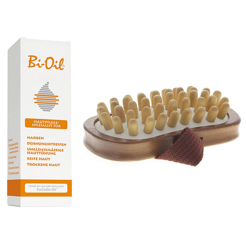 Bi-Oil 60ml Set 1 mit Kosmetex Cellulite-bürste mit Schlaufe und Holznoppen für das Einmassieren Set 1
