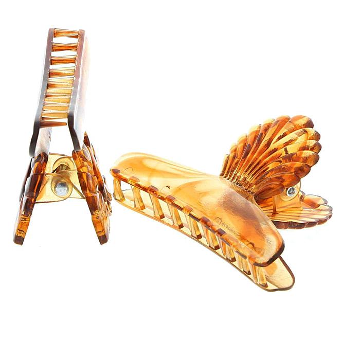 Abteilklammern, Haarklammern, 2 Stck. mit Schmetterling und Muschelgriff Braun