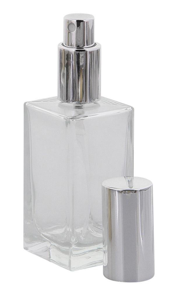 Kubischer Parfümflakon Glas mit Zerstäuber, Kosmetex Flakon für Parfum Colognes, leer 50ml Silber