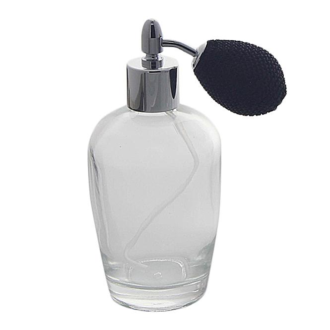 Bauchiger Parfümflakon mit Ballpumpe, Glas 100ml Flakon Kosmetex für Parfum Colognes, leer Schwarz-Silber