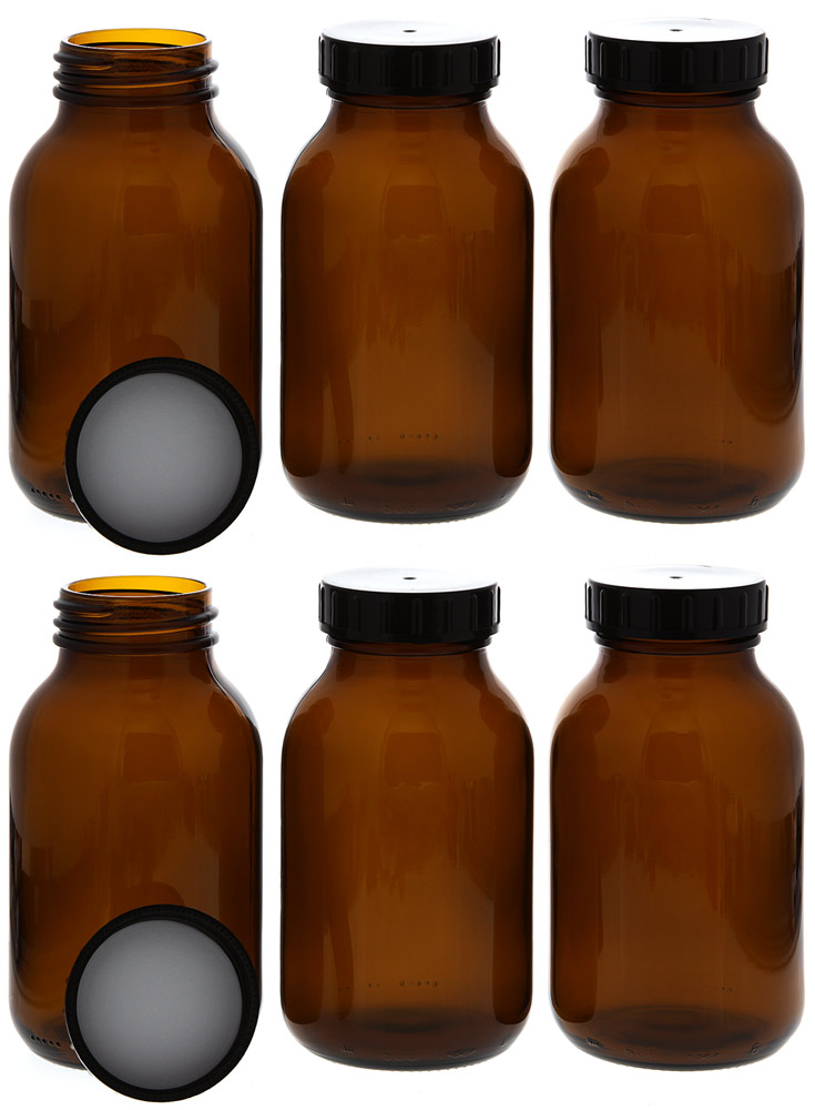 Weithalsflasche, Braunglasflasche m. Kunststoff-Deckel, leer Kosmetex Glasdose, Flasche, 500 ml 6× 500 ml
