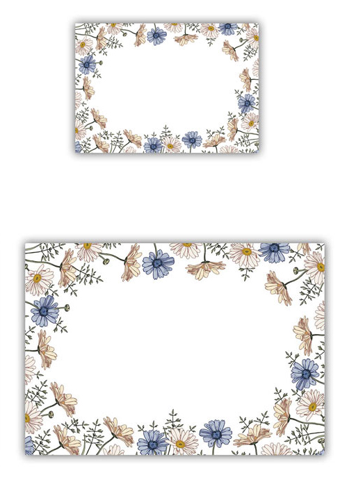 50x Mix Blaue Sommerblume 2 Größen, Kosmetex Aufkleber Beschriftung für Kosmetik, Parfüm, Aroma, Öl für Flaschen, Dosen 50x Mix