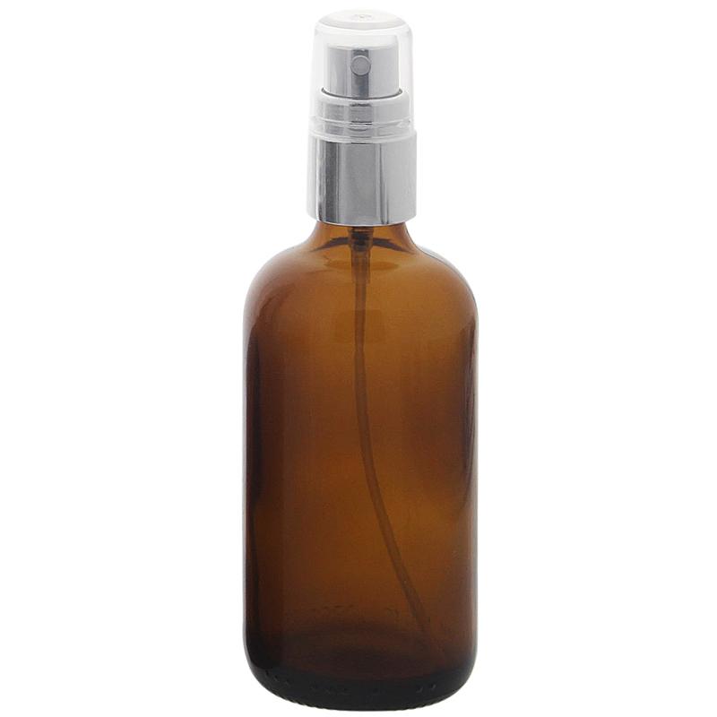 Braunglas Zerstäuberflasche, Sprühflasche mit silber. Pumpzerstäuber. Kosmetex Parfümflakon 100 ml