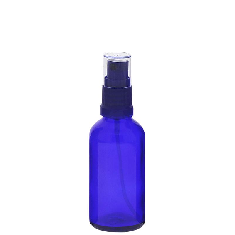 Blauer Glas Flakon, Blauglasflasche mit blauen Zerstäuber, Kosmetex Sprühflasche, Glasflasche mit Pumpzerstäuber 50 ml