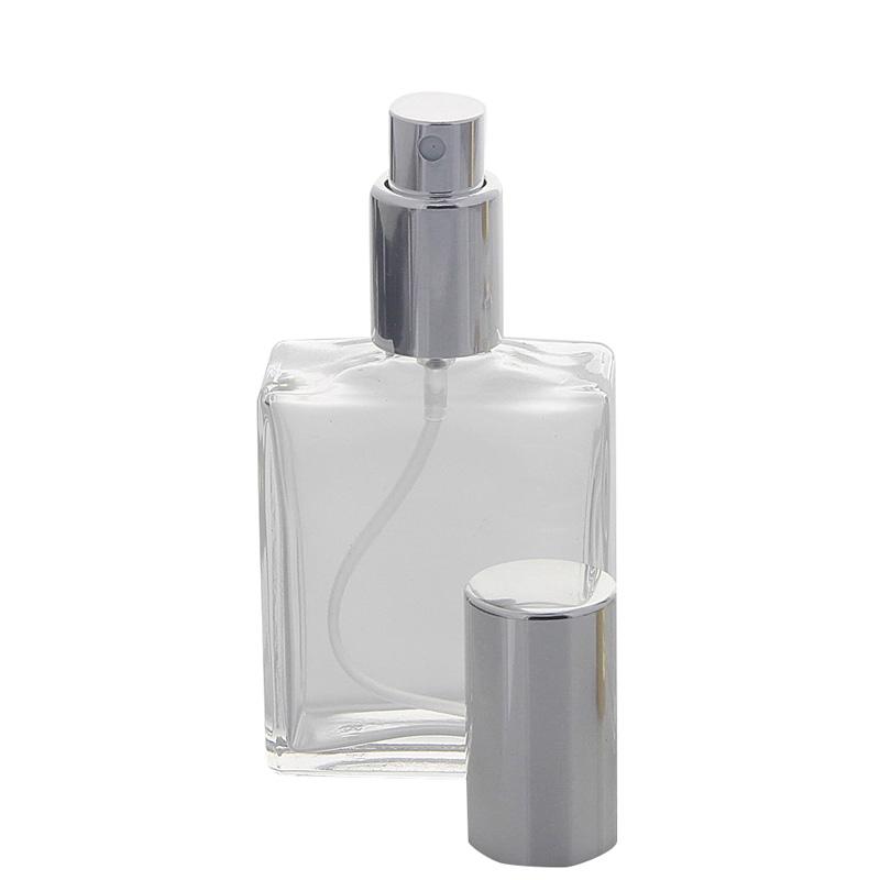 Kosmetex Eckiger Parfüm-Flakon, Glas, leer 50 ml mit silber Zerstäuber Einheit Silber