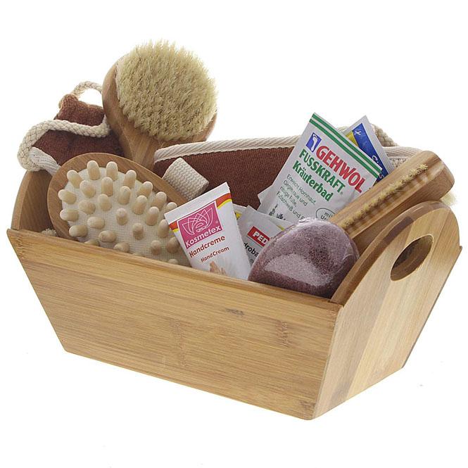 Großes Bade- und Pflegeset aus Bambus mit Bimsstein, Massagegurt, Badebürste, Nagelbürste, Cellulitebürste, Handbürste