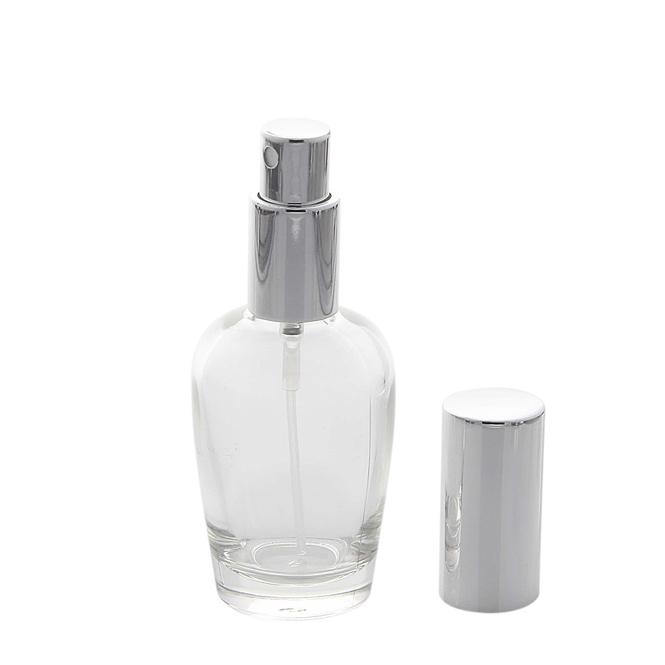 Kosmetex Parfümflakon Glas mit Zerstäuber, 30ml Flakon Flaschenform für Parfum, Colognes, leer 1 x silber