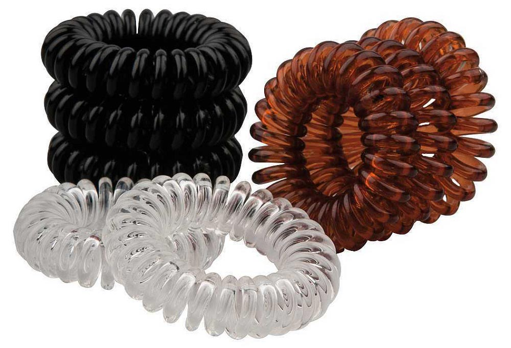 Haargummi Set, 8Stk., Telefonschnur-Haargummi, Spiral-Gummi aus Kunststoff, ohne Metall