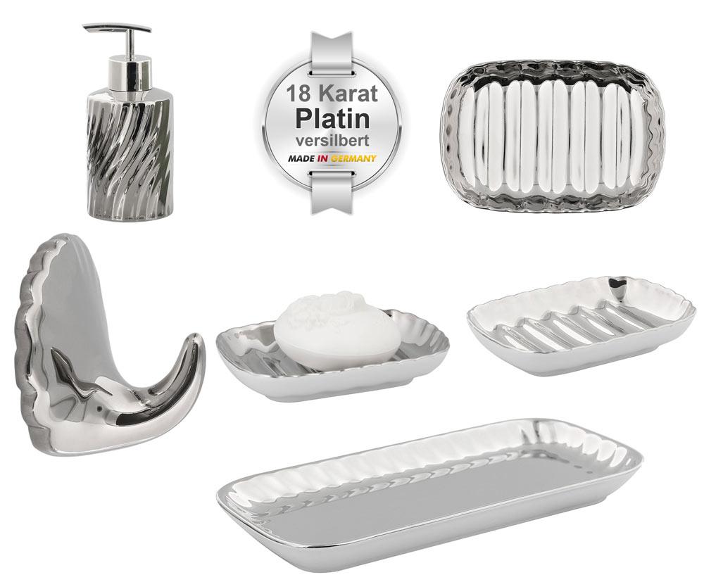 """Bad-Serie """"Platino"""" Porzellan mit 18 Karat Platin versilbert, Kosmetex Silber-Platin Garnitur Bad Accessoires Ausstattung"""