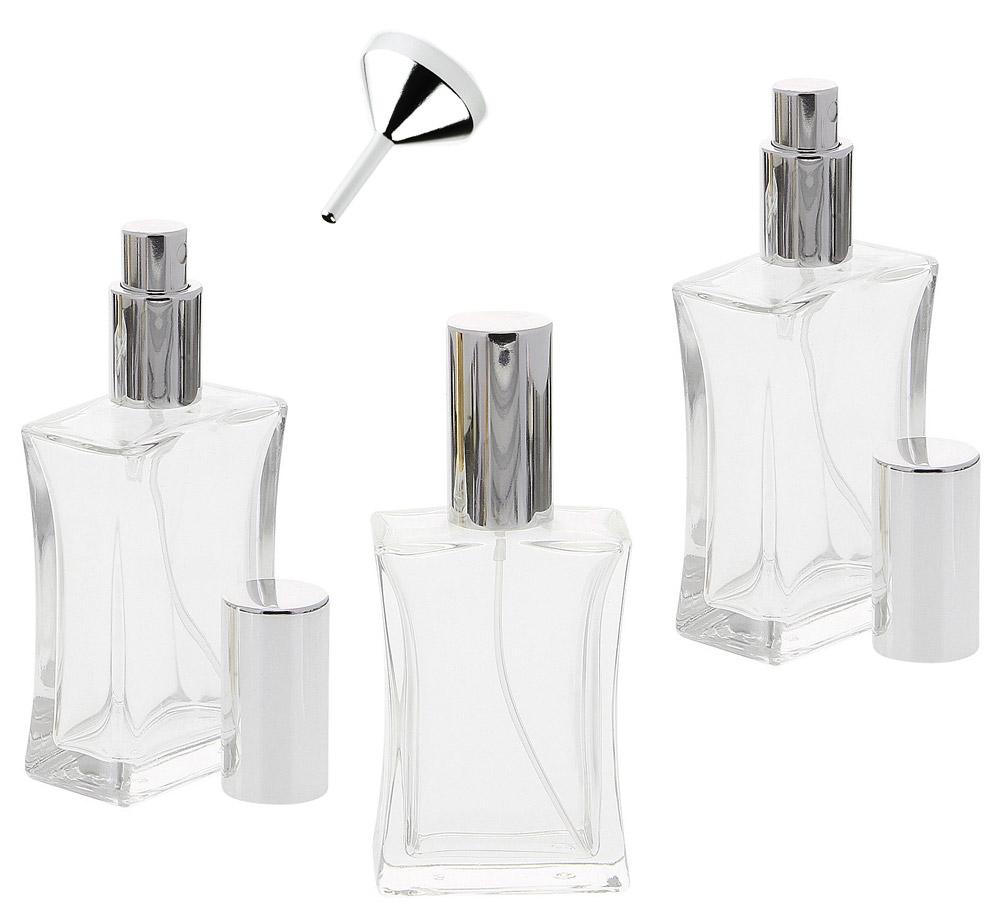 Kosmetex leerer, eckiger tailliert Glas-Flakon, 50 ml Mix-Set mit Parfüm-Trichter, Parfüm-Zerstäuber 3 x silber + Trichter