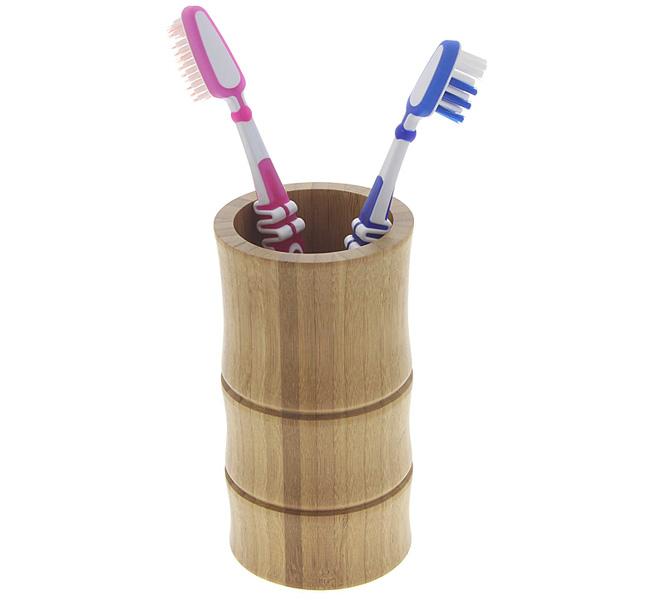 BecherZahnbürsten-halter Kosmetex aus Bambus Tiki Style, zur Aufbewahrung von Kosmetikpinseln, Stiften