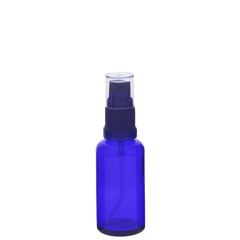 Blauer Glas Flakon, Blauglasflasche mit blauen Zerstäuber, Kosmetex Sprühflasche, Glasflasche mit Pumpzerstäuber 30 ml