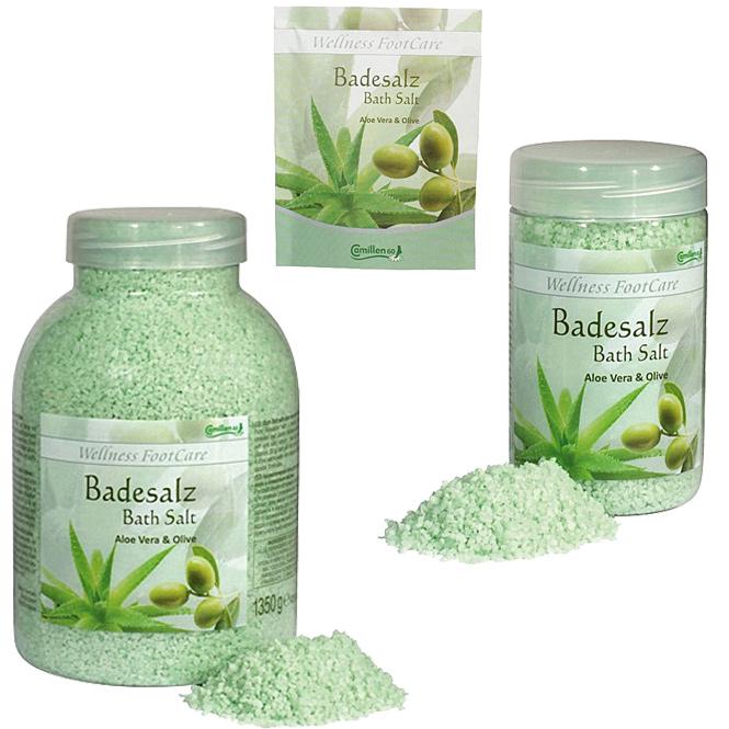Badesalz Aloe, Olive, Camillen 60, Fussbad Wellness Foot Care mit Aloe Vera und Olivenöl,