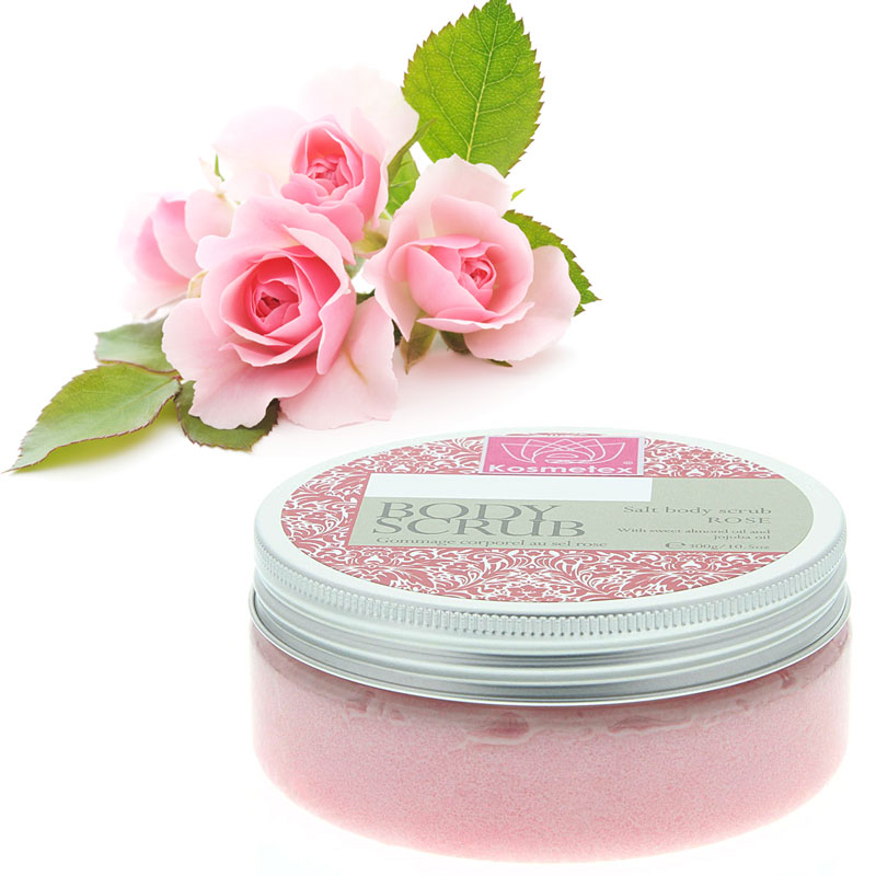 Kosmetex Salz Peeling, Körperpeeling mit Mango Shea Butter, Mandelöl, Jojobaöl, Sauna Salzpeeling, Salt Body Scrub Rose 300g