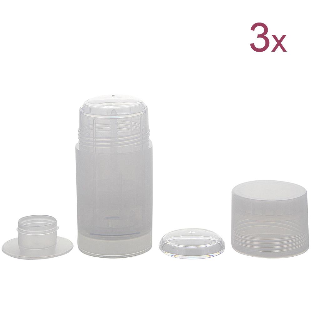 Deo Stick Flasche 75ml, Kosmetex, leer, Kunststoff, nachfüllbar, für selbsthergestellte Deos, tropfsichere Konsistenzen, 3 Stück 3 Stück