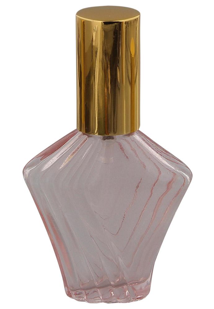 Rose Glas Flakon Flora Fleur, 30 ml Parfümzerstäuber, leer mit Zerstäuber Farbe Gold, rosa, Kosmetex
