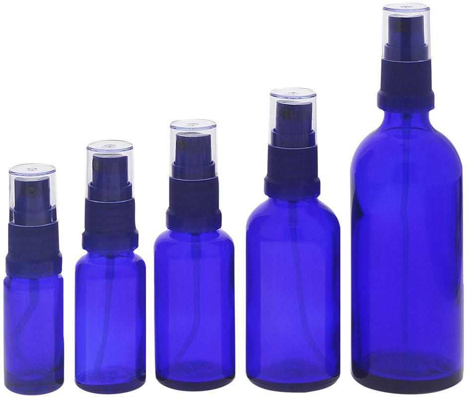 Blauer Glas Flakon, Blauglasflasche mit blauen Zerstäuber, Kosmetex Sprühflasche, Glasflasche mit Pumpzerstäuber 5er MixSet