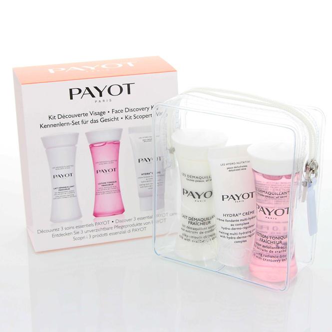 PAYOT Kennenlern oder Reise Set Démaquillant Fraîcheur, Lotion Tonique Fraîcheur, Hydra 24 Crème + Kosmetiktasche