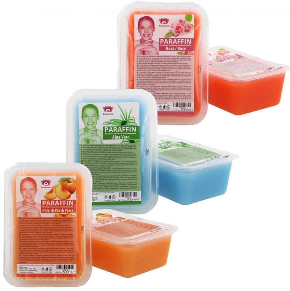 Kosmetex Paraffinbad Mix Paket Pfirsich, Aloe Vera, Rosa-Rose Duft, Paraffin-wachs mit niedrigeren Schmelzpunkt,