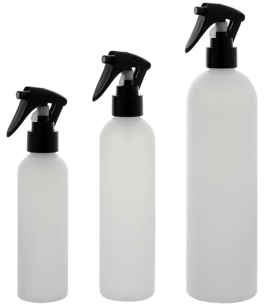 Leere Sprühkopf-Flasche 150ml, 200ml, 500 ml, Kosmetex Sprühflasche, Plastik, zylindrisch, halbtransparent