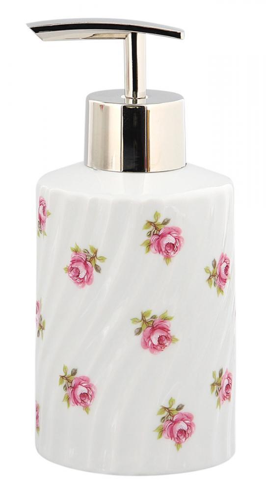 Seifenspender Rose vom Tegernsee, Porzellan weiß gedreht mit kleinen Rosen im Dekor, Kosmetex Lotion-Pumper