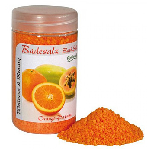 Badesalz Orange, Papaya, Camillen 60, Fussbad Badezusatz für die Füsse, mit Fruchtextrakt,