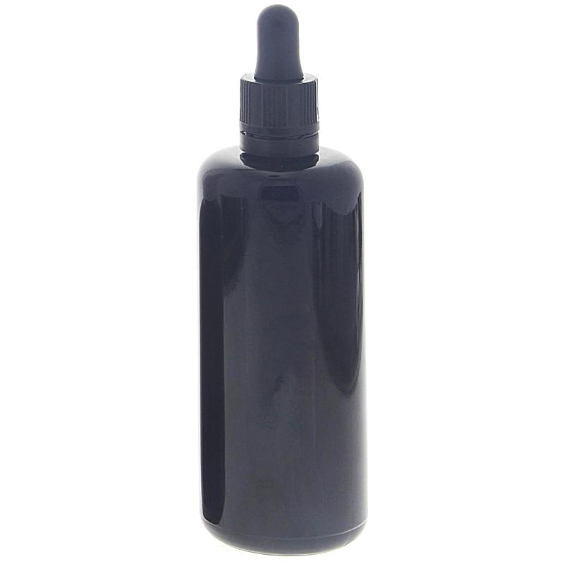 Violettglas-Flasche mit Pipette, leere violette Miron Glas-Flasche, Kosmetex Pipettenflasche mit Pipettenmontur. 100 ml