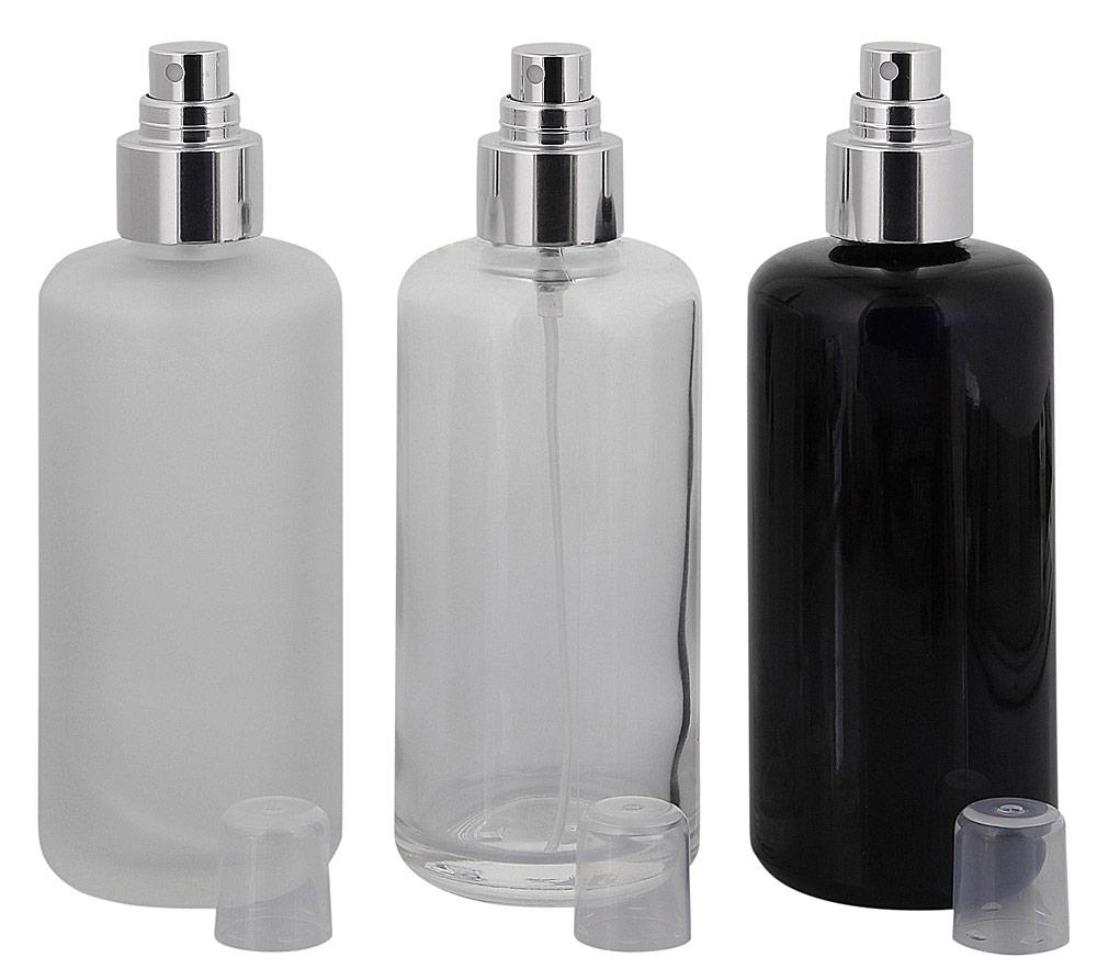 Pump-Zerstäuber Flasche, Pumpspender, 200 ml Kosmetex klar-, matt-, violett-Glas Flakon