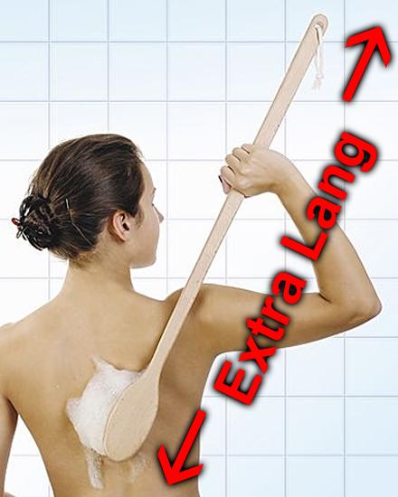 Rückenbürste EXTRA LANG 80 cm, Große Badebürste aus Holz mit langem Stiel